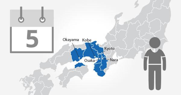 Kansai WIDE Area Pass 5 Day / Child - My JR Pass - All Access Pass